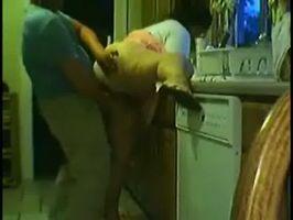 Caliente a su esposa y la coje en la cocina